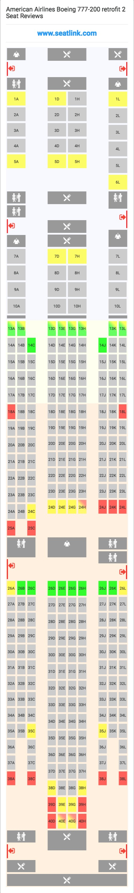american airlines boeing 777 200 retrofit 2 772 seat map