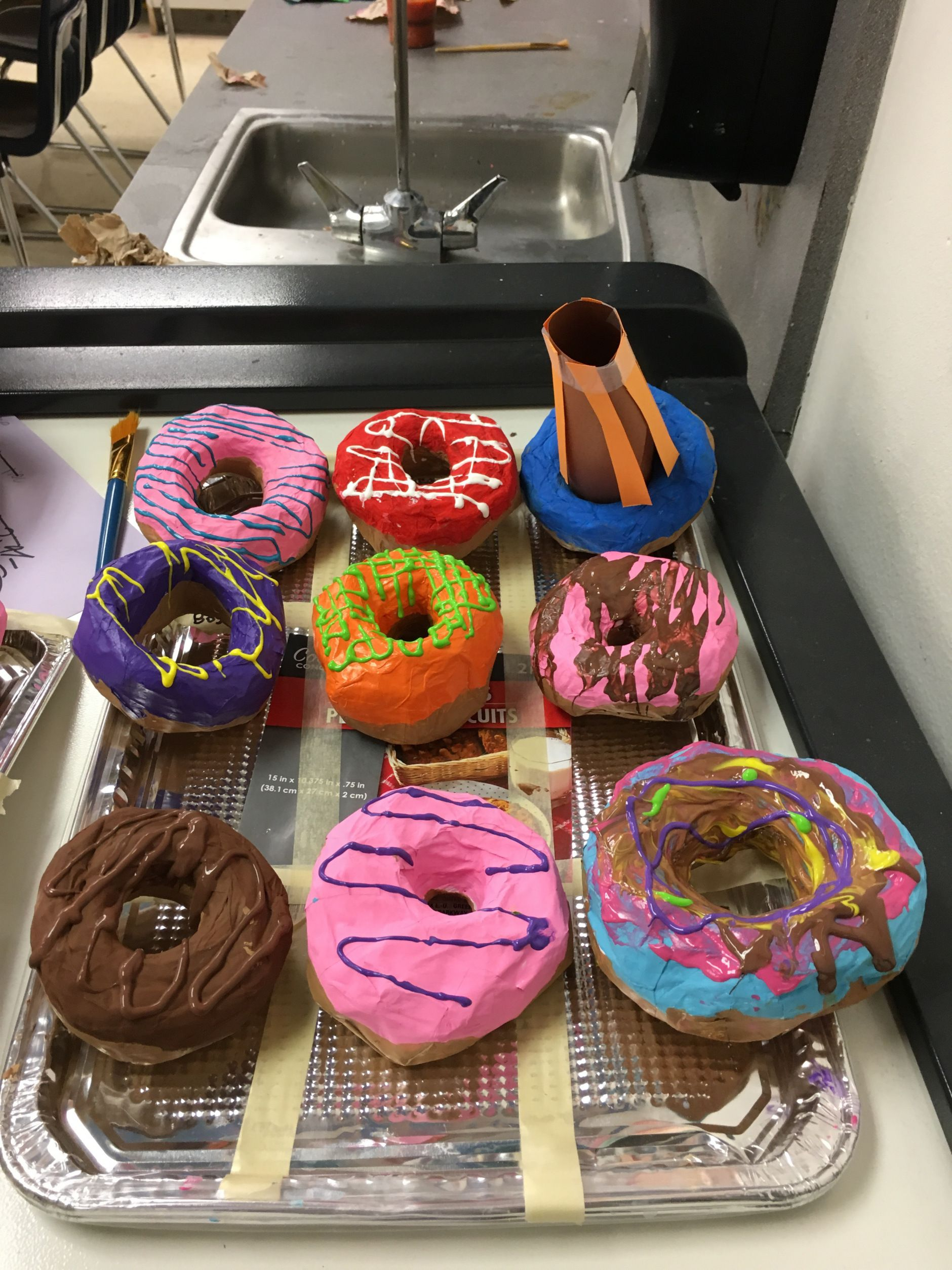 4th grade Paper Maché Donuts Wow Art Project Paper
