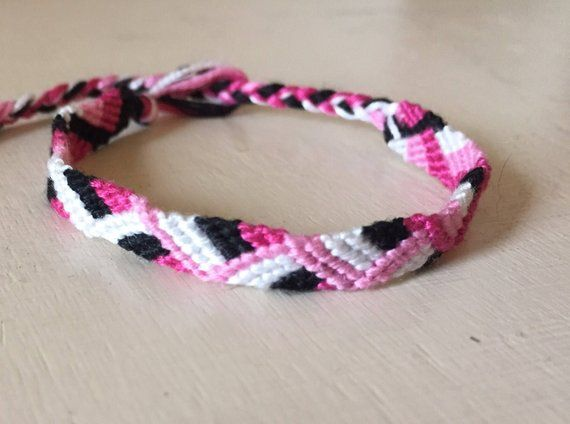 6e6bbe1a63f9f friendship bracelet, Pink, white & black zigzag, Embroidery Floss ...