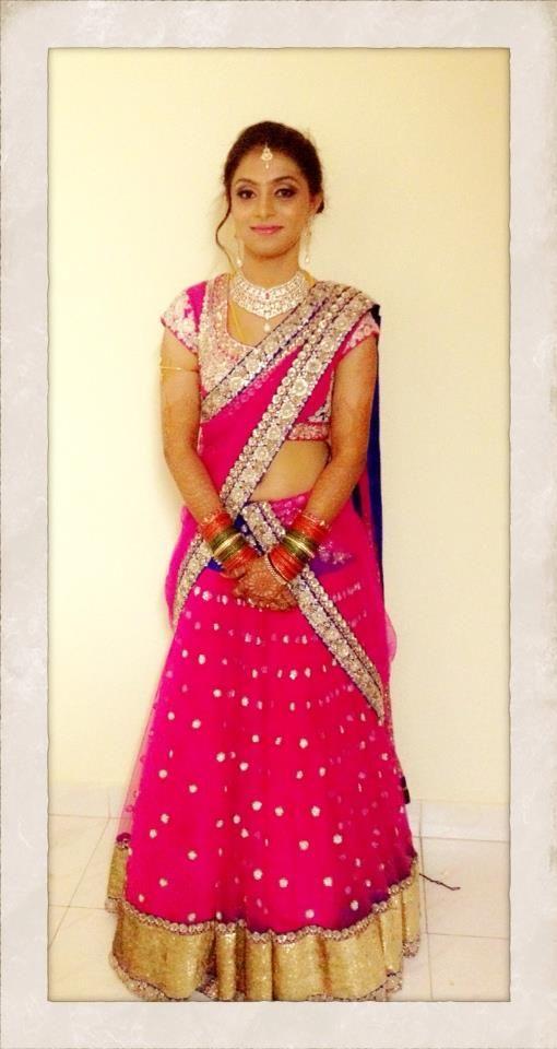 south indian bride   bridal makeup and half saree   <3   Pinterest ...