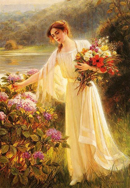 Albert Lynch - Gathering Flowers