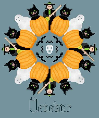 October Halloween Symbols cross stitch pattern.