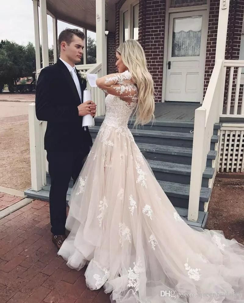 Discount2018 Country Wedding Dresses V Neck Lace Applique Long Sleeves Bridal Gowns Tiered Tulle A Line Dress From Queenbridal88 113 73 Dhgate Com Long Sleeve Bridal Gown Tulle Wedding Dress Wedding Dress [ 990 x 800 Pixel ]