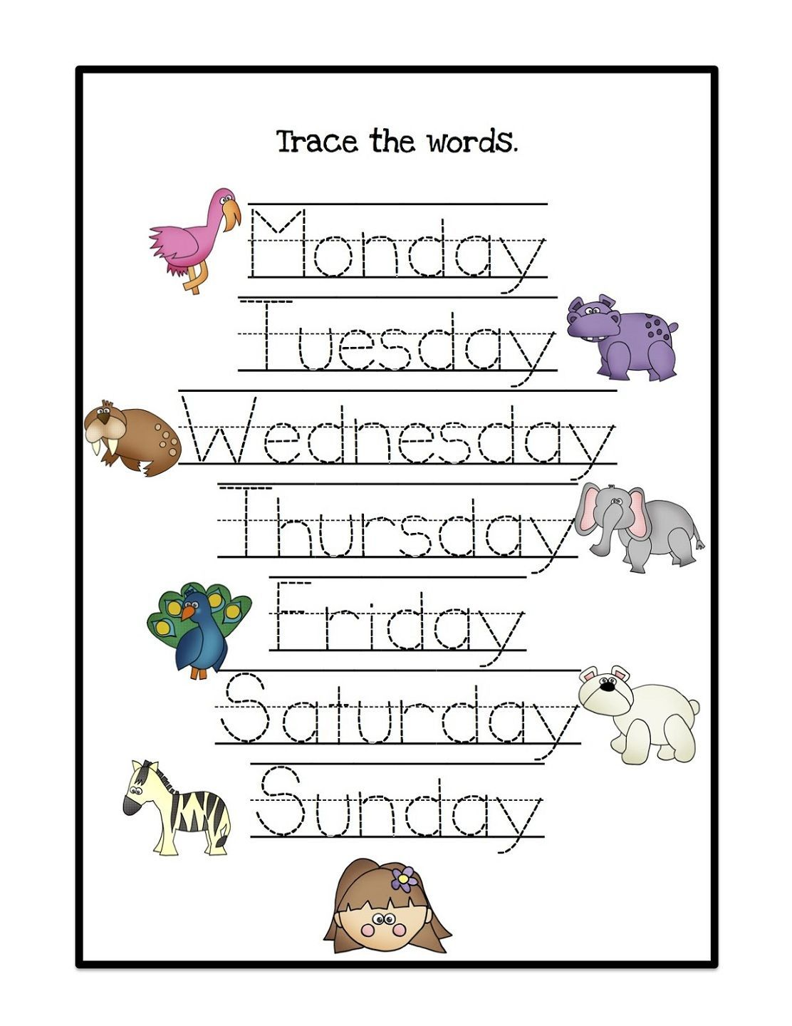 Days Of The Week Worksheets Learning Papers Kindergarten