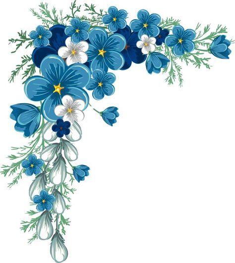 Blue Flower Border Png