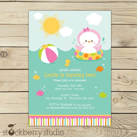 Penguin Pool Party Invitation Printable  Girl Pool Birthday Party