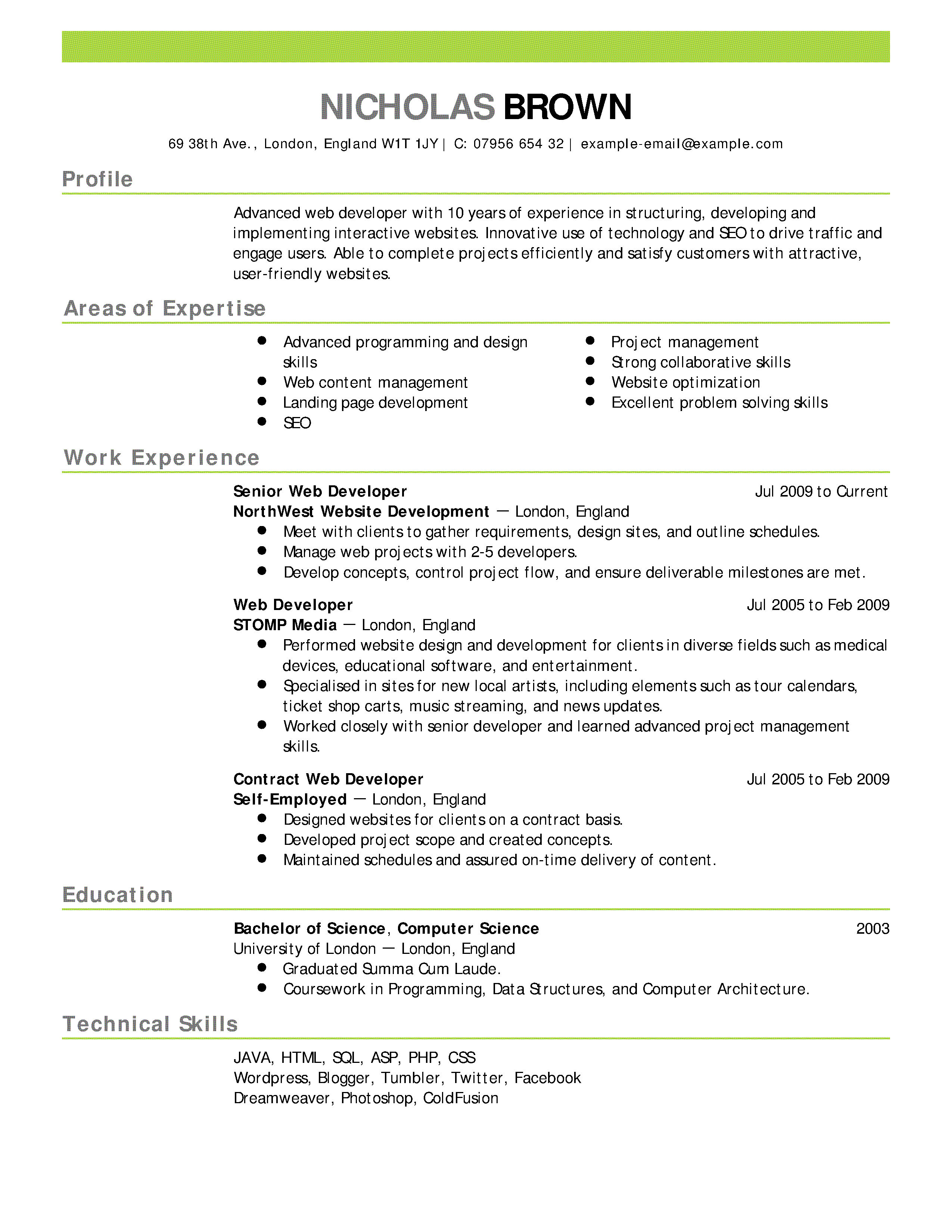 Web Developer Resume Example Emphasis 2 Expanded 2 Png 2550 3300 Teaching Resume Job Resume Examples Resume Skills
