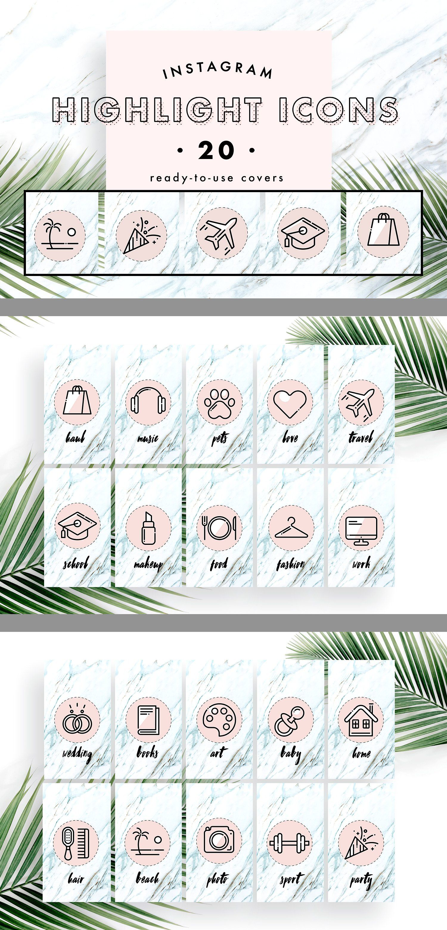 Instagram Story Highlight Covers by Marie T on @creativemarket   set of 20 for your Instagram story highlights. These templates are fully customizable and compatible with Adobe Photoshop or Adobe Illustrator. With this pack, you can upgrade your Instagram in a stylish and professional way   #instagram #icons #highlight #cover #feminine *affiliate