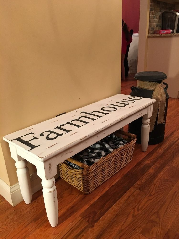Painted Bench In Cece Caldwell S Simply White Quot No Stencil