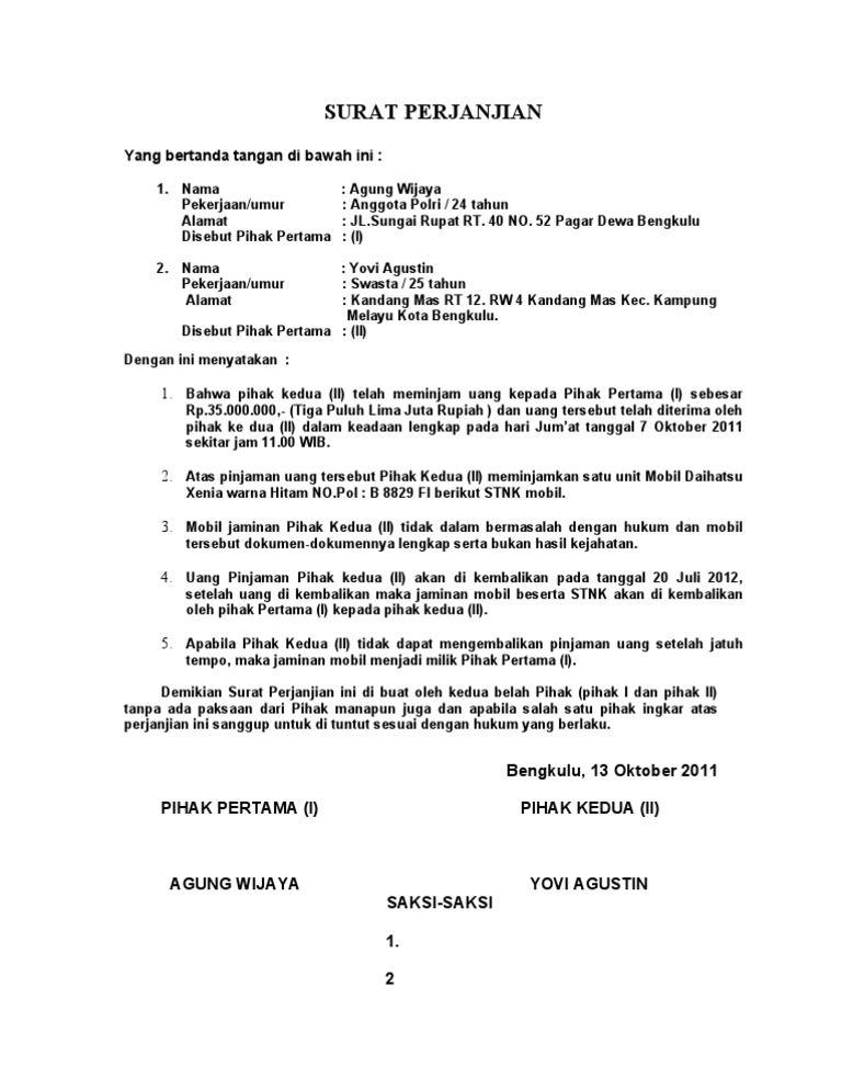 Surat Perjanjian Pinjaman Uang Dengan Jaminan - Bagi ...