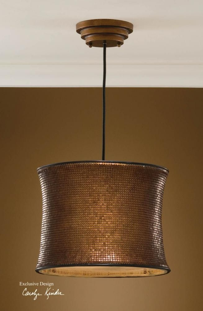 Medium image of two light metallic copper drum shade pendant   21140   kirby risk