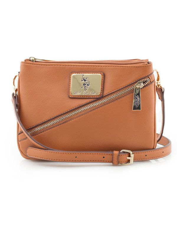 U.S. POLO ASSN. WOMEN S SAFFIANO DIAGONAL ZIP CROSS BODY BAG COGNAC BAG   USPoloAssn  MessengerCrossBody 96b06e2ddc1f7