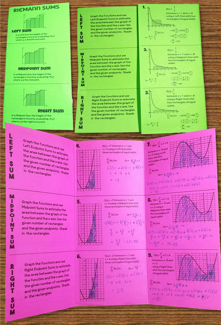 worksheet Riemann Sum Worksheet calculus riemann sums intro task cards plus qr and more this sum foldable is perfect for any calculus