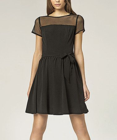this black sheer yoke fit  flare dress is perfect
