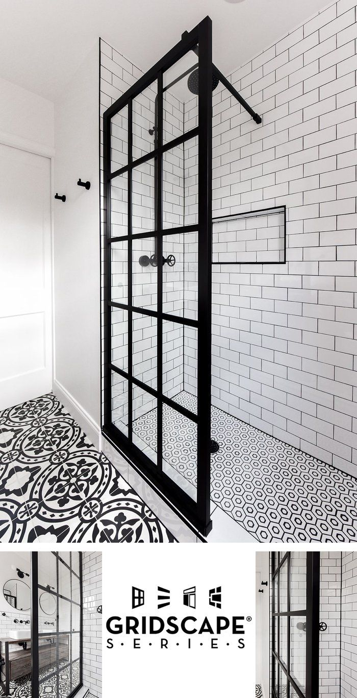 Gridscape gs shower screens in black with clear glass sewing