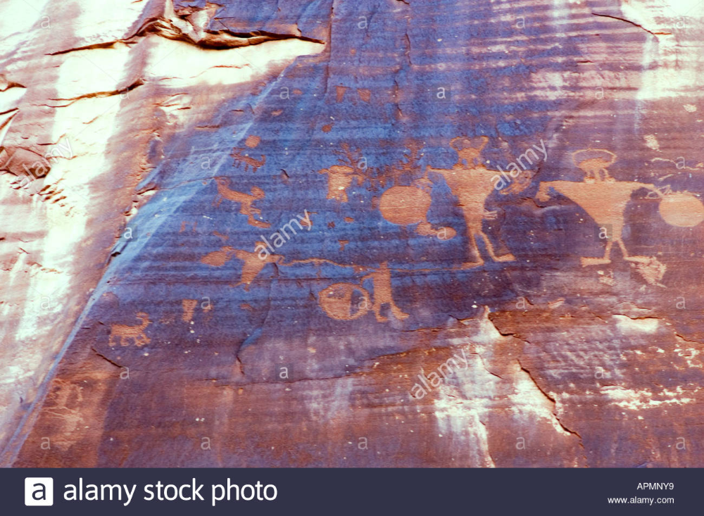 Ancient American Indian petroglyphs at Arches National Park, Utah USA Stock Photo: 9043064 - Alamy #utahusa