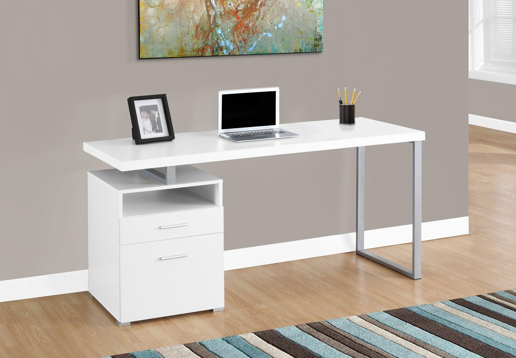 Modern 60 Single Pedestal Computer Desk In White Metal Computer Desk White Computer Desk Contemporary Computer Desk