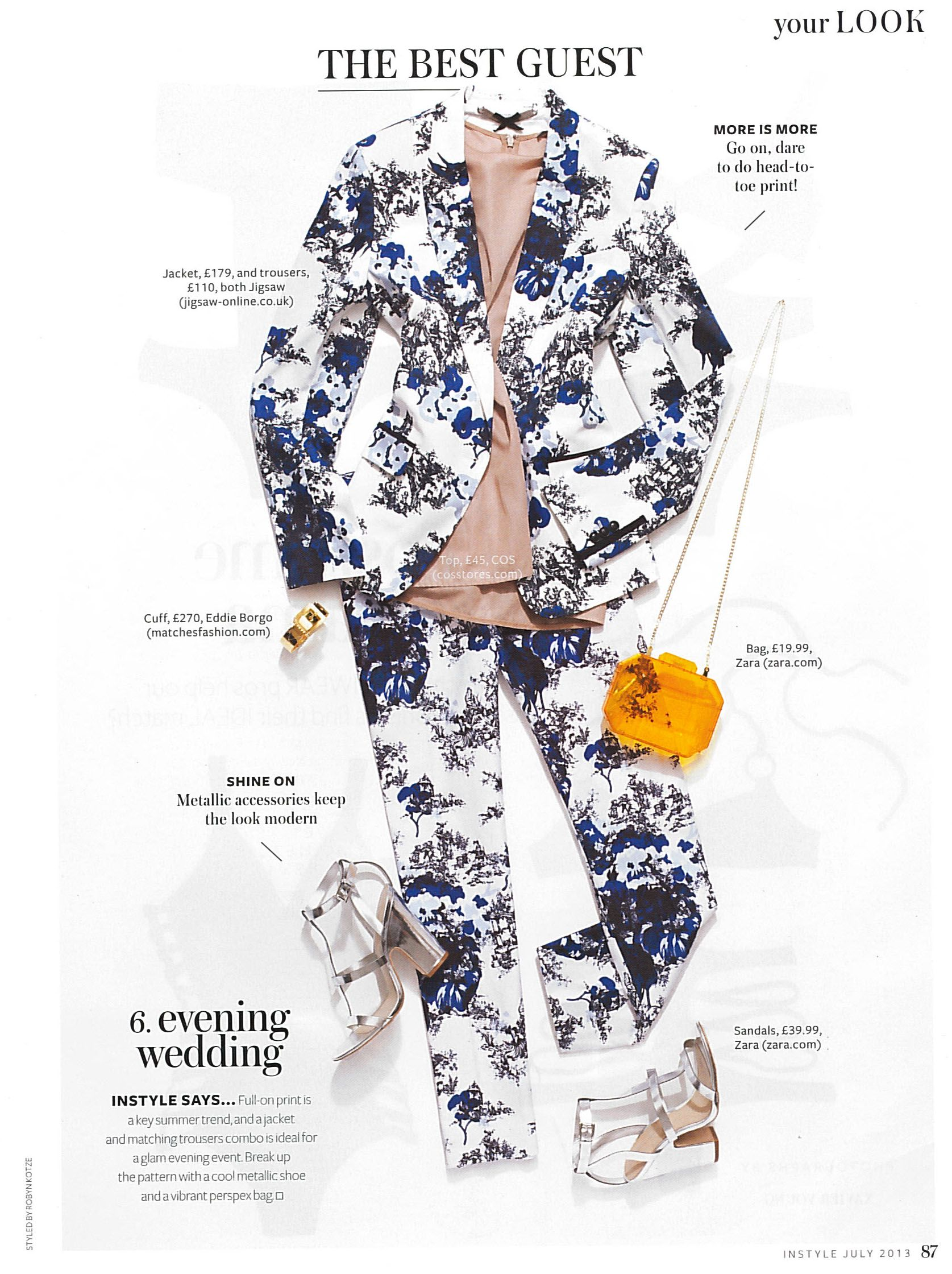 InStyle Magazine July: Our elegant Cotton Floral Toile de Jouy Jacket and Trouser.