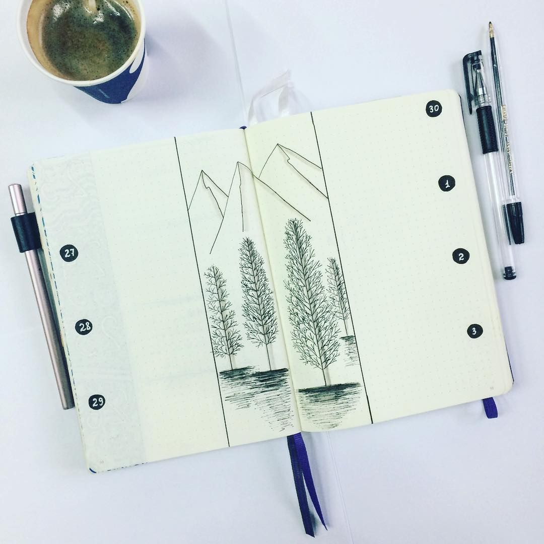 Bullet journal weekly layout, forest drawing, open bullet journal