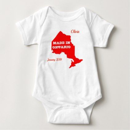 Customizable red made in ontario baby bodysuit customizable red made in ontario baby bodysuit baby gifts giftidea diy unique cute negle Choice Image