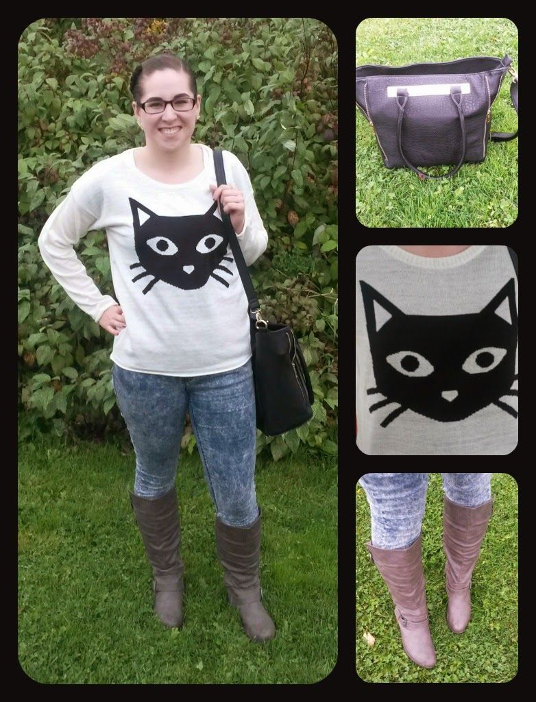Cat sweater outfit! love the purple purse