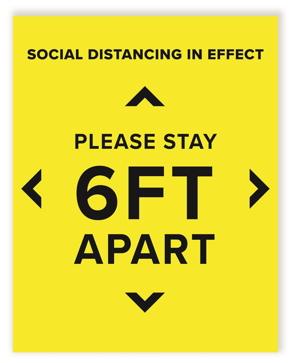 Please Stay Back 6 Feet Yellow Personal Social Distancing Sticker