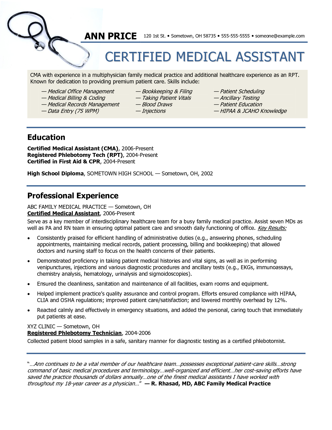 resume examples example of medical assistant resume regular medical assistant - Sample Medical Resume