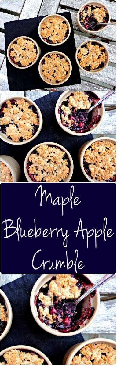 """""""This Flourless Maple Apple Blueberry Crumble is #vegan and #gluten free - An easy, #healthy and delicious recipe! -…"""""""