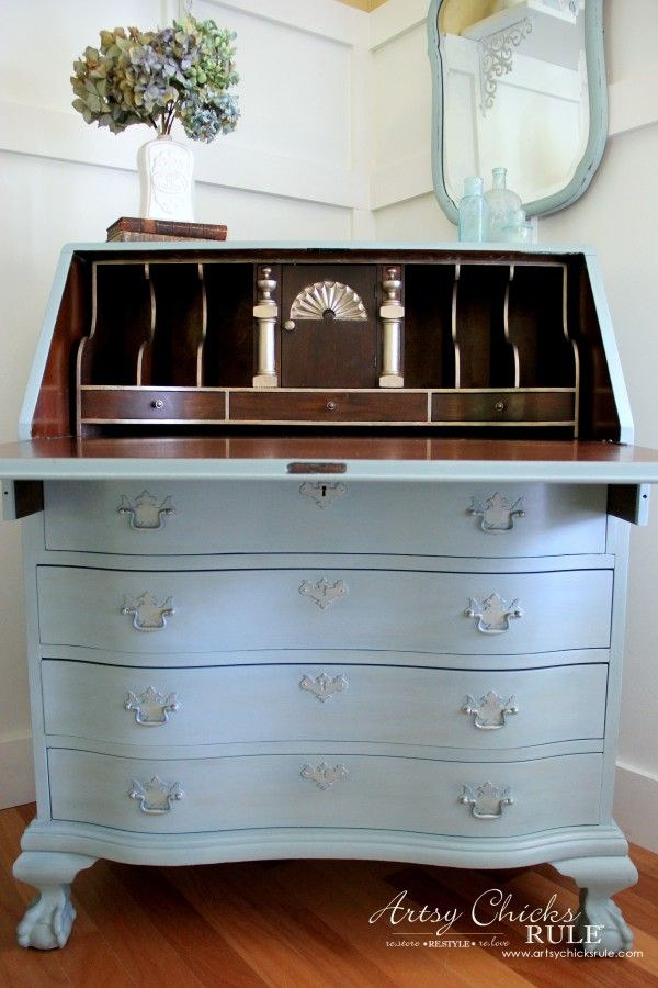 Secretary Desk Makeover W Duck Egg Blue 3 Colored Waxes Chalk Paint By Annie Sloan Secretary Desk Makeover Desk Makeover Painted Secretary Desks