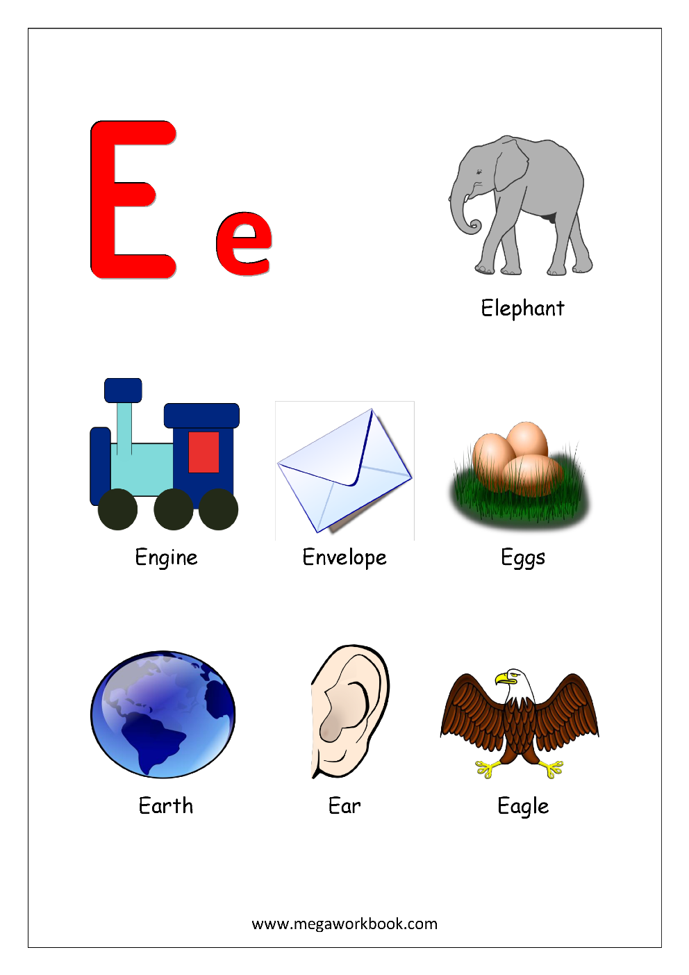 Alphabets starting with letter   E   English Worksheets | English