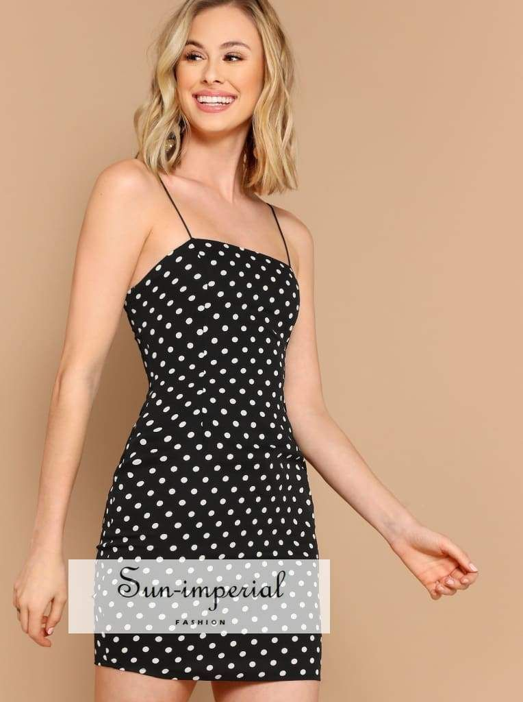 6088a0d36945f Color: Black and White Style: Glamorous Composition: 100% Polyester  Neckline: Spaghetti Strap Sleeve Length: Sleeveless Silhouette: Shift  Dresses Length: ...