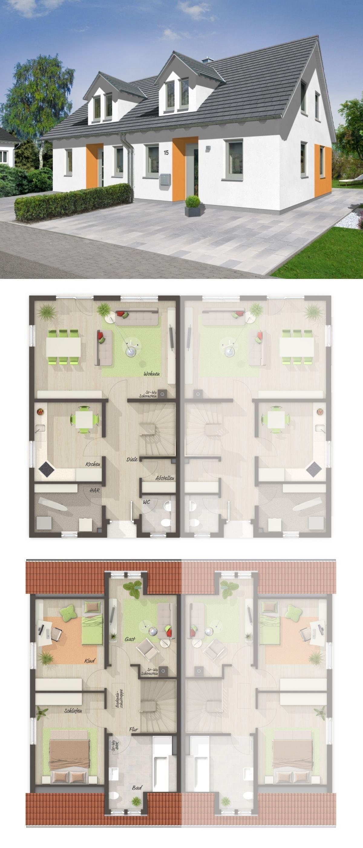 Doppelhaushälfte Grundriss mit Satteldach Architektur