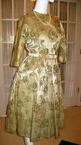 Bombshell 1950's Satin Maggi Stover Vintage Cocktail Dress