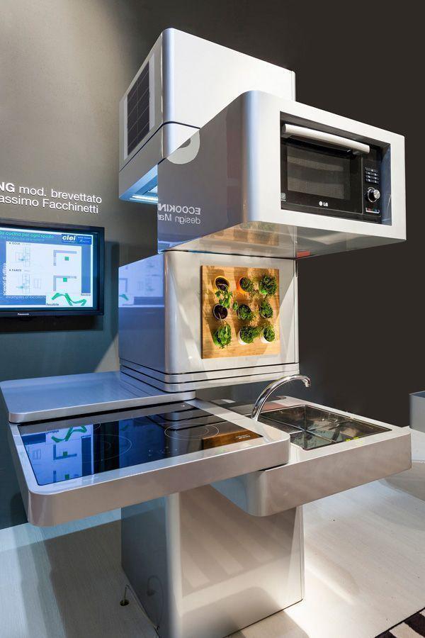 Love The Vertical Planter On This Really Futuristic Column Kitchen - Cocinas-futuristas