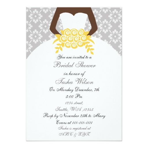 yellow african american bridal shower invitation - African American Wedding Invitations