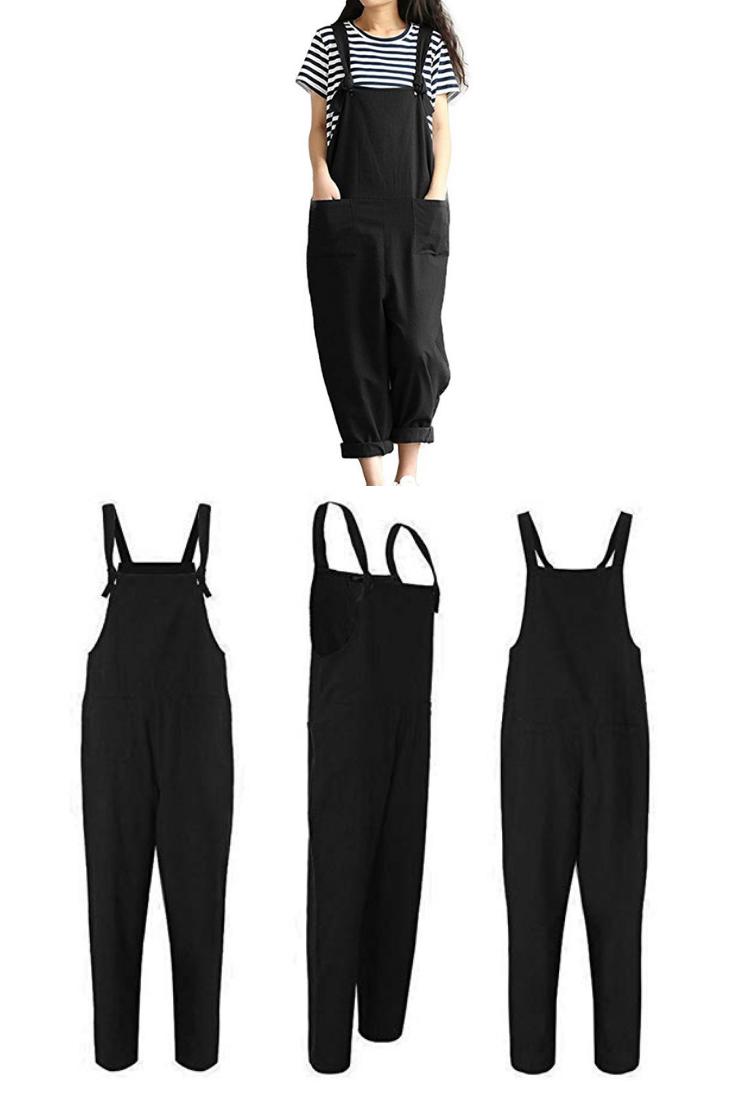ed63d1637ba Lncropo Women Large Plus Size Baggy Linen Overalls Casual Wide Leg Pants  Sleeveless Rompers Jumpsuit Vintage