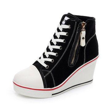 a29ebbf6e2a1 Big Size lace Up Canvas Shoes Zipper High Heels Platform Shoes - US 41.04