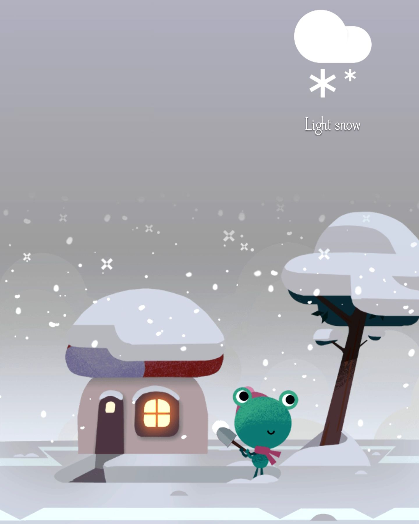 Light Snow | Google Weather Frog in 2019 | Google weather