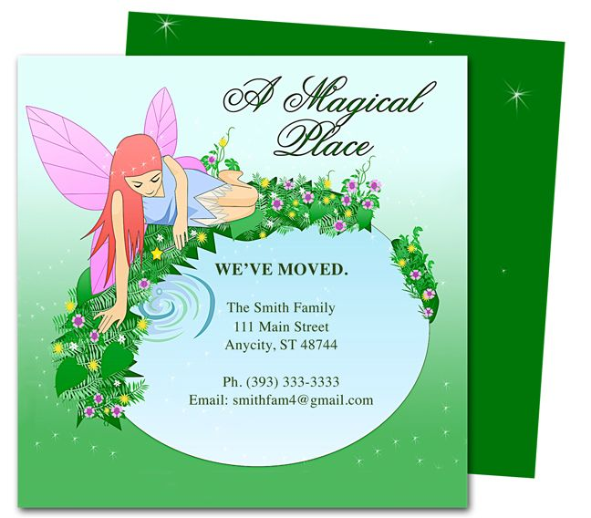 Moving Announcements And New Address Postcards Fairy Trixy Printable We Ve Moved Card Template