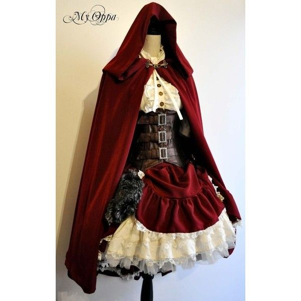 fashion dress cosplay steampunk couture little red riding hood steam... ❤ liked on Polyvore featuring costumes, little red riding costume, red costume, cosplay costumes, steam punk halloween costumes and little red riding hood costume