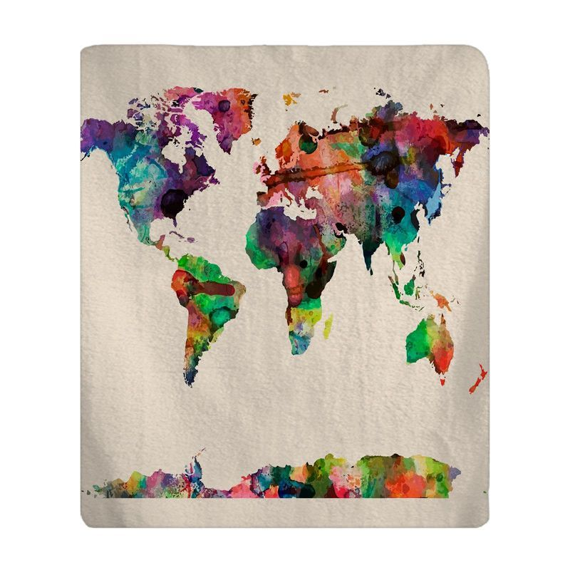 Personalized watercolor world map plush fleece blanket available personalized watercolor world map plush fleece blanket available many color background options fall and winter gumiabroncs Image collections
