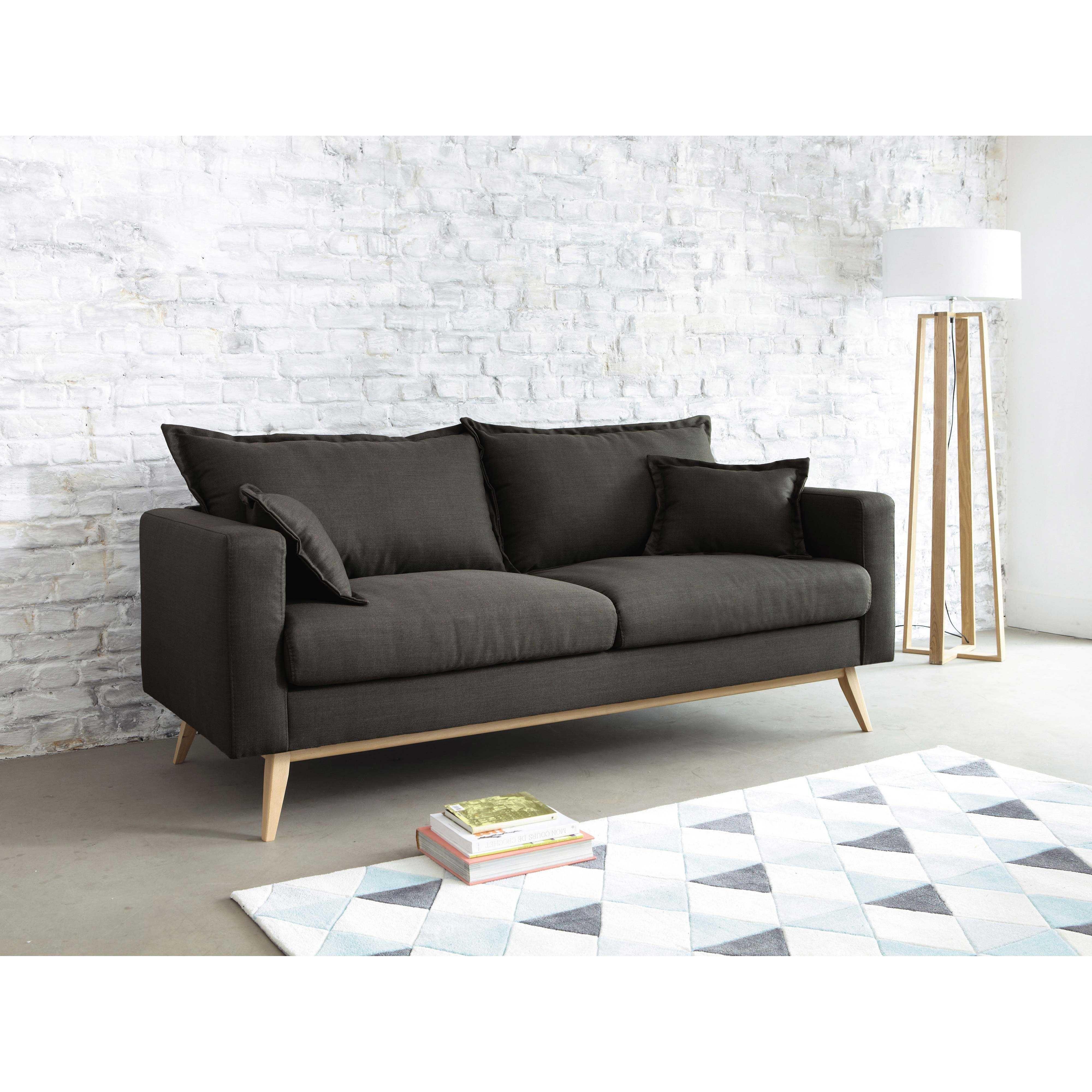 Canapé 3 places en tissu brun grisé Duke | Maisons du Monde | Mon ...