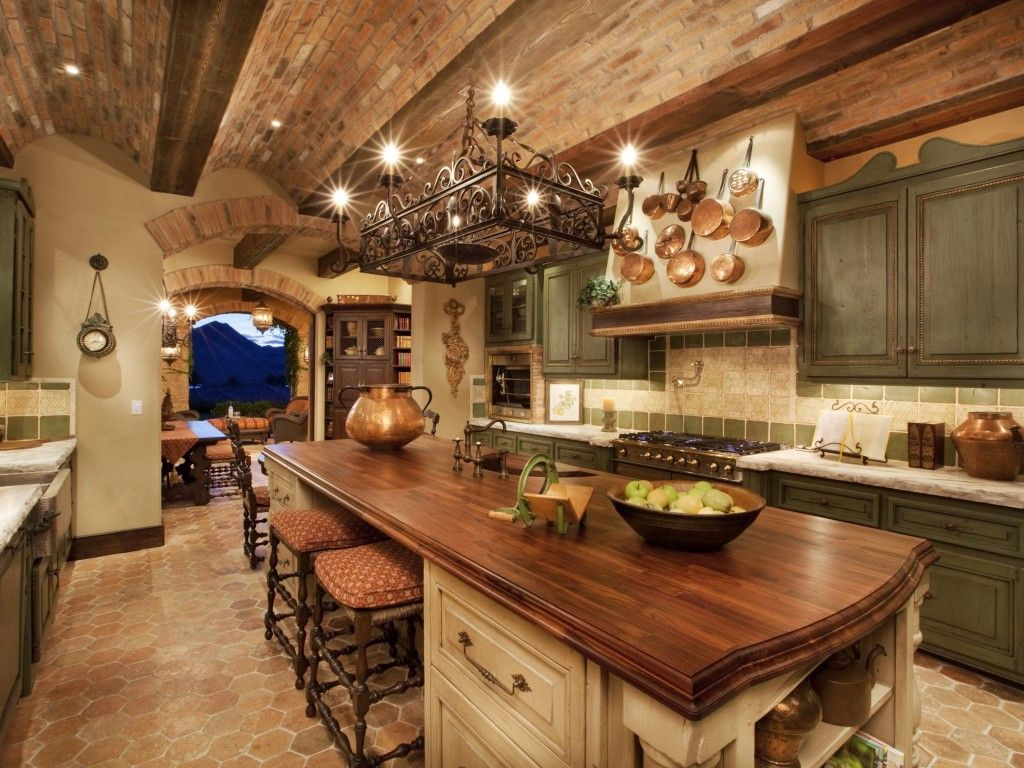 Best Farmhouse Kitchens Ideas For Interiors: Brick Ceilings And Rectangle  Chandelier With Butcher Block Countertops Part 43
