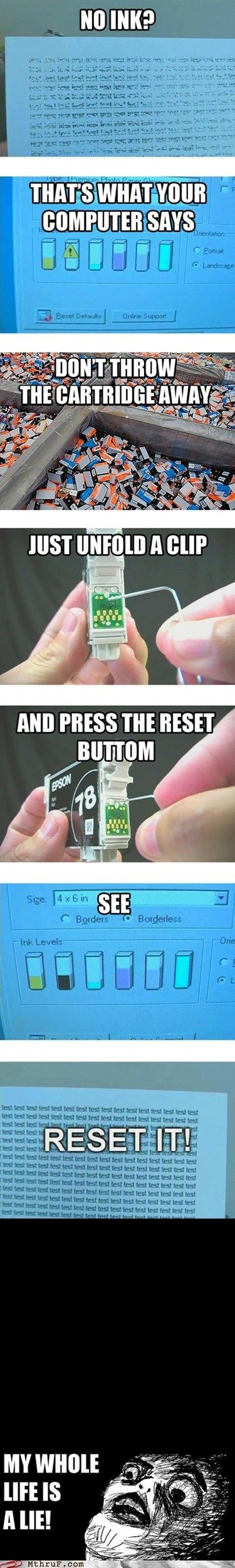 """How to reset an """"Empty"""" printer cartridge to make it continue to work until it is totally empty. Perfect for my step-dad. Lol"""