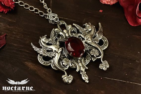 Gothic Necklace with Ruby Red Gem