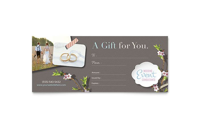 Wedding Planner Gift Certificate Template Design by StockLayouts - event planning certificate