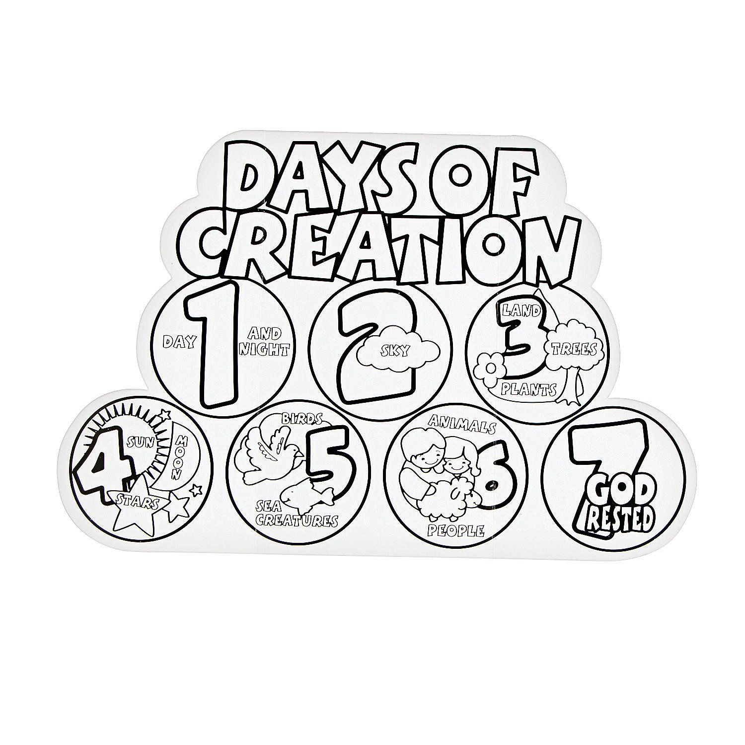 Color Your Own 7 Days Of Creation Displays In Add