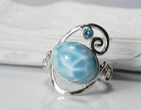 Larimar Ring  Larimar Blue Topaz Ring  Swirl by FantaSeaJewelry