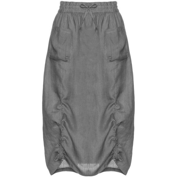Isolde Roth Grey Plus Size Linen cotton skirt with ruffles ($165) ❤ liked on Polyvore featuring skirts, grey, plus size, elastic waist skirt, cotton skirts, grey cotton skirt, grey skirt and gray skirt