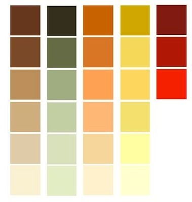 Third row 2nd from the bottom for my living room walls for Natural paint color palette